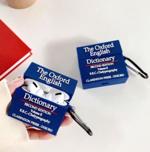 Oxford Dictionary силиконового чехла анти падение защитной крышки для Apple airpods 1 2 про заряд коробки Keychain смешных 3D книги Аксессуаров