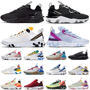 Top Quality react element 55 87 Epic react vision running shoes Photon Dust womens mens trainers Triple Black White Orange Volt sneakers