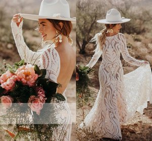 Unique Chic Lace Mermaid Boho Beach Wedding Dresses Sexy Backless Long Sleeves Sweep Train Country Outdoor Bride Dress Plus Size AL7147