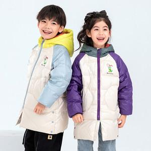 KEAIYOUHUO 2020 осень и зима новых мальчиков и девочек куртка с капюшоном Kid средней длины Белый утка вниз куртка цвета Matching куртка
