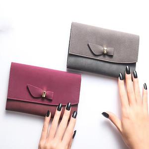 Cüzdan Kartı Paketi Bow Pu Deri Katı Renk Kadınlar Sentetik Standart Çanta Uzun Moda As Resmi Hasp Ultra ince Is Clyine