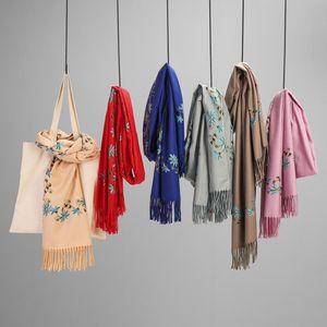 Autumn Winter Cashmere Scarf Female Digital Print Retro Shawl Ethnic Wild Tassel Luxury Designer Women Shawl Knitted Bufanda