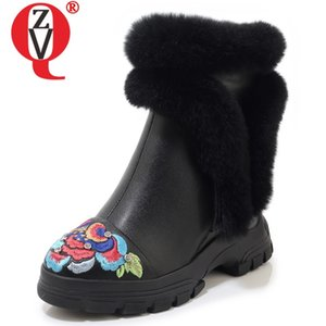 ZVQ hiver nouvelles bottes de neige chaud à l'extérieur plate-forme de talons hauts brodent zip femmes bottes véritables femmes en cuir chaussures expédition de baisse