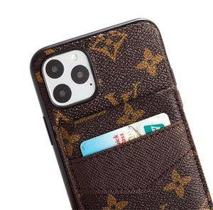 iPhone 12 Mini 11 Pro Max Xs Xr 8 7 artı Samsung Note İçin Lüks Tasarımcı Deri Telefon Kılıfları 20 N10p S10 S20 Ultra ile Kart Sahibi Kapak