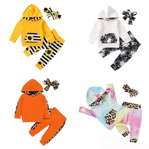 kids clothes girls outfits infant Leopard Floral hoodie Tops+stripe sunflower pants+Bow 3pcs sets Spring Autumn baby Clothing Sets Z1654