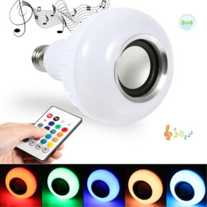 E27 Bluetooth 12W Power LED RGB RGBW Wireless Speaker Bulb Light Lamp Music Playing 24 Keys Remote Controller BT Speaker For Iphone PC