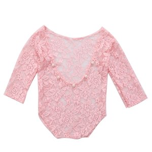 Vintage Newborn Baby Girl Lace Romper Bodysuit Photography Props Costume Clothes
