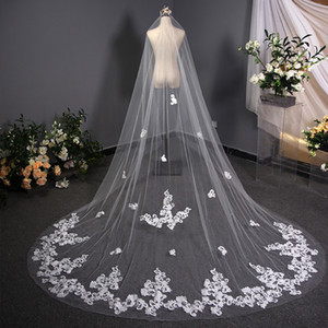 Cathedral Bridal Veils Luxury Super Fairy Long Trailing Lace Veil 3.8m Appliques Beaded Net Yarn Wedding Veils Korean Style 2020