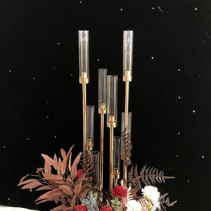 NEWMetal Candlesticks Flower Vases Candle Holders Wedding Table Centerpieces Candelabra Pillar Stands Party Decor Road Lead Free shipping