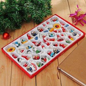 48 Adet Geleneksel Ahşap Noel ağacı Süsleri Ev Asma Oyuncak Seti Güzel Narin Hotel Restaurant Atmosfer Santa Clau fOD9 #