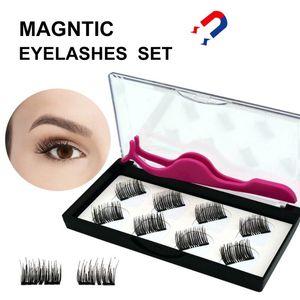 8pcs / set Ciglia magnetici cigli falsi Fine Eye estesa False 2 magneti magnetico No colla con scatola regalo