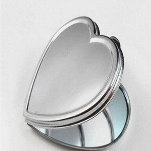 200pcs DIY Metal Pocket Mirror Makeup Fold Heart Shape Blank Compact Portable Mirror For Personalized Wedding Party Favor