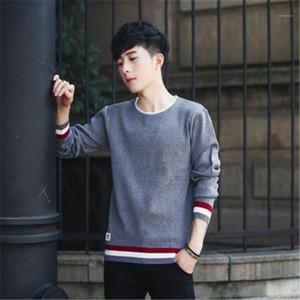 Человек основывая свитера Мода корейский Трендовые Англия Стиль Тонкий Вязаные свитера конструктора Mens осени весны вскользь Tops вокруг шеи