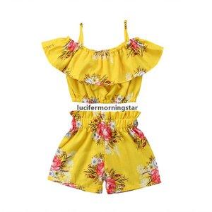 A005 del niño de la niña de la ropa amarilla floral rizado Correa Tops Chaleco Pantalones cortos Las partes inferiores de verano Trajes Playa sistema de la ropa
