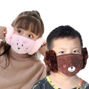 DHL Crianças bonito Orelha de protecção Boca Máscara Animais Plush bordar design 2 em 1 criança face Inverno Máscaras Crianças Boca-Muffle contra pó
