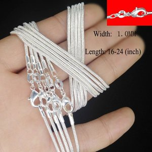 """10pcs  lot high quality promotion wholesale women jewelry silver plated snake chain fashion pendant chain 16 18 20 22 24"""""""