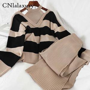 CNlalaxury 2ST Set Frauen gestrickte Pullover Sweater Streifen Strickpullover Tops + Wide Leg lange Hosen-Anzüge Tracksuits zwei-teiliges Set