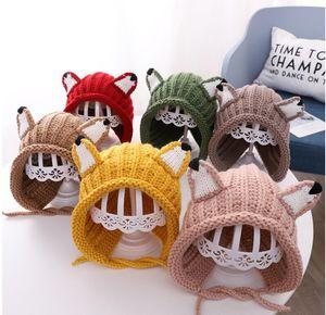 New Kids hat winter cute style cartoon tie baby knitted hat warm baby wool ear protection hat Korean