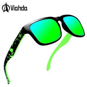 VIAHDA Praça óculos polarizados Vintage Mens famoso designer Sun óculos Masculino HD Lens Gafas Oculos