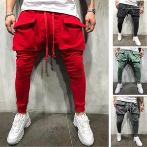 Sweatpants Mens Casual Sports Joggers Pantalones Spring Autumn Solid Big Pockets Fitness Athletic