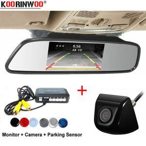 Koorinwoo Parkronic 4 Radars Car Parking Sensors Tracks Car Rear View Camera Reverse With HD Mirror Monitor Backlights Indicator
