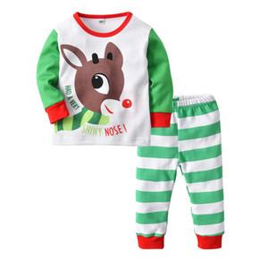 Childrens Ocio Tops Niños Navidad Pijamas Set Boys and Girls Contrastando Color Impreso Ciervos de Navidad Pantalones de rayas Juego de dos piezas