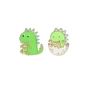 Cute green cartoon animal dinosaur brooches for women enamel pins badge kids gift brooch bag collar shirt lapel pin jewelry
