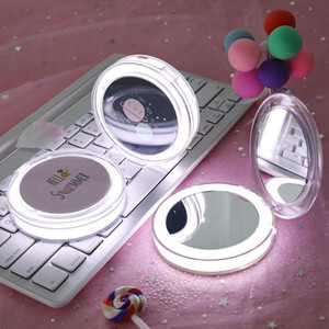 Specchio per il trucco con la nave di goccia LED portatile estetica compatta ricaricabile illuminato pieghevole Piccolo rotonda Pocket mano Specchi