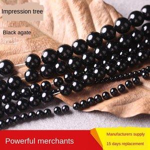 qsi21 Impression árvores Grade um preto diy acessórios artesanais DIY Agate ágata preta contas redondas contas acessórios