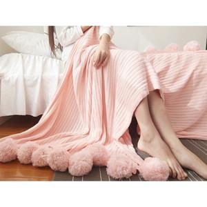 100% Baumwolle Strickdecke Pelz-Kugel-Mode Adult Sofa Bettwäsche Dekorative Knitting Decke Geschenk