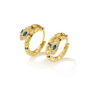 2020 الأزياء الأزرق مكعب زركون الأفعى القرط مجوهرات للنساء فتاة حار بيع الأفعى هوب القرط الإناث حزب المجوهرات هدية