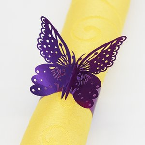 200PCS borboleta oco para fora Papel Guardanapo Buckle Anéis Laser Cut Paper Craft Serviette Holder for Wedding Party Hotel Banquet Table Decor