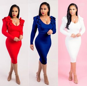 Autumn Solid OL Bodycon Sheath Dresses Women Formal Party Evening Dress Spring