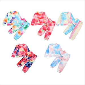 أزياء طقم ملابس للبنات الطفل التعادل صبغ الدعاوى الربيع جولة الخريف عنق طويل كم فتاة صغيرة الملابس
