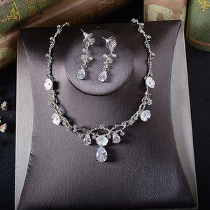 Cristales SLBRIDAL Rhinestones damas joyería Cubic Zircon CZ boda Conjunto nupcial del pendiente del collar de banquetes