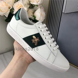 Nueva Scarpe moda de los hombres ocasionales de las mujeres zapatos de las zapatillas de deporte del cuero de zapatos de Italia Top Verde Calidad Red Bee Negro bordado tigre Des Chaussures