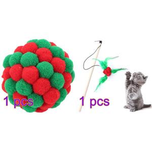 2pcs Pet Cat Toy Christmas Cat тизер Wand Белл Pom Pom Поддельный перо Wand с Жевательная мячем Pet Принадлежности для кошек