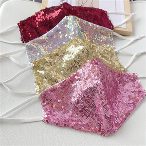 US STOCK Fashion Bling 3D Washable Reusable Mask PM2.5 Face Care Shield Sun Gold Elbow Sequins Shiny Face Mount Masks for PM2.5