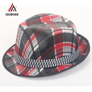2020 Yaz Kağıt Polyester Kısa Rulo Brim Caz Hat Kadınlar Ekose Dekor Bowler Şapka Erkekler Panama Beach Cap Ebeveyn-çocuk Şapka