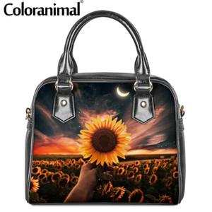 Coloranimal Fashion 2020 Sunflower Print Shoulder Bags Women PU Leather Tote Handbags Waterproof Zipper Crossbody Bag for Female