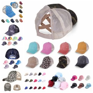 82styles Washed Cross Ponytail Tie dye Baseball Cap Messy Buns hat Trucker Pony caps tileopard Dad mesh summer outdoor Snapbacks LJJA4152