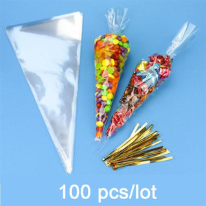 100pcs lot DIY Wedding Birthday Party Sweet Cellophane Clear Candy Cone Bags Cheap Organza Pouches Decoration