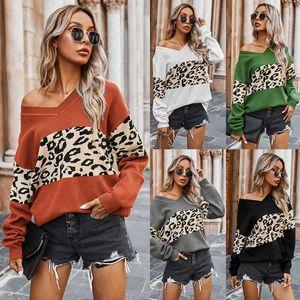 Leopardo de las mujeres suéteres de manga larga con cuello en V atractivo gota hombro suéter Tops remiendo del bloque del color de punto flojo Jumper