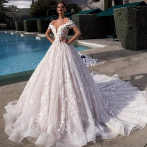 Chic Long Boho Wedding Dresses Illusion V Neck A Line Chapel Train Appliques Lace Tulle Bride Gowns Blush Pink Lining Vestidos