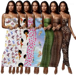 Spaghetti Strap Wrapped Chest Summer Lond Dress Floral Leopard Summer Womens Designer Bodycon Dresses Slim Skinny