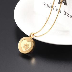 Pet Мемориал ювелирных собак Печать в сердце круглый кулон ожерелье Урна для Ashes Кремация Медальон Keepsake любовь никогда не увядает