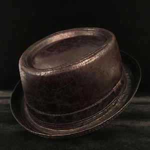 4 Большой размер Кожа свиная Pie Hat For Dad Fedora Hat Мужчины канотье Flat Top для Gentleman Bowler пирог со свининой Top Dad Шляпы