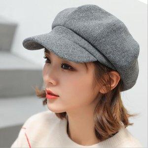 Lana Beret mujeres otoño invierno octagonales Gorra de estilo Artista Pintor Newsboy Caps Negro Amarillo Beret sombreros envío