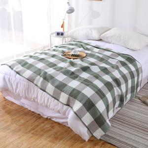 Summer Plaid Blanket 2 Layer Gauze Cotton Towel Quilt Bed Cover Bedspread Soft Throw Blanket for Bed School koc cobertor deken