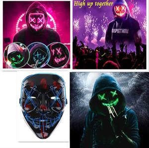 2020 Halloween Horror маска LED Purge Обложка Выборы Тушь Костюм DJ Party Light Up Маски Glow В темные цвета для выбора Bouti